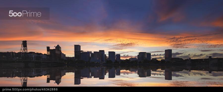 Portland Oregon Downtown Waterfront Skyline Sunset Panorama - stock photo