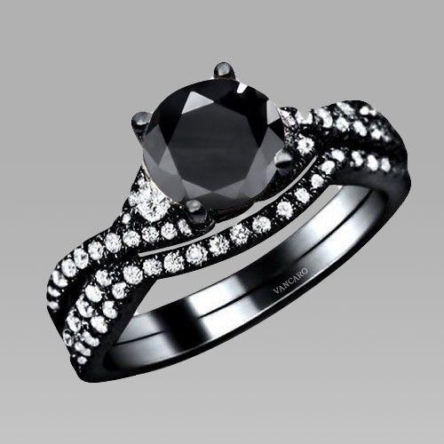 Superieur 4 Prong Black Main Cubic Zirconia Black Wedding Bridal Ring Set #gothic  #gothicwedding