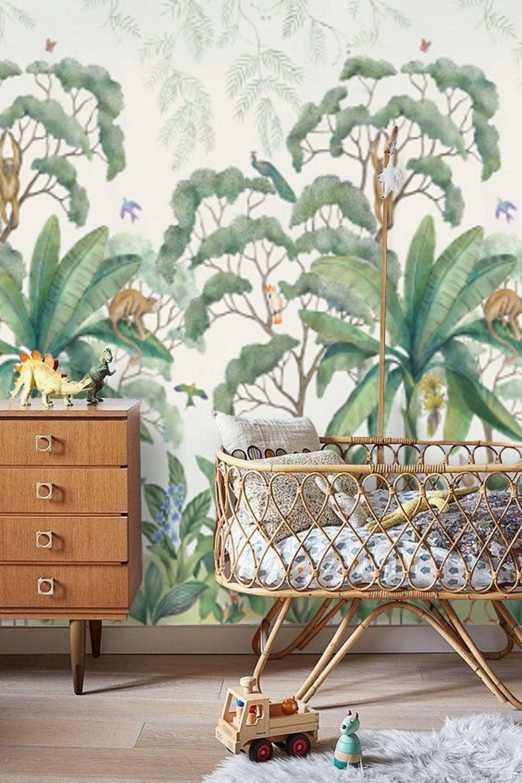 Baby Boy Nursery Jungle Wallpaper Peel And Stick Mural Remove Etsy Baby Boy Nursery Jungle Jungle Wallpaper Jungle Nursery Boy