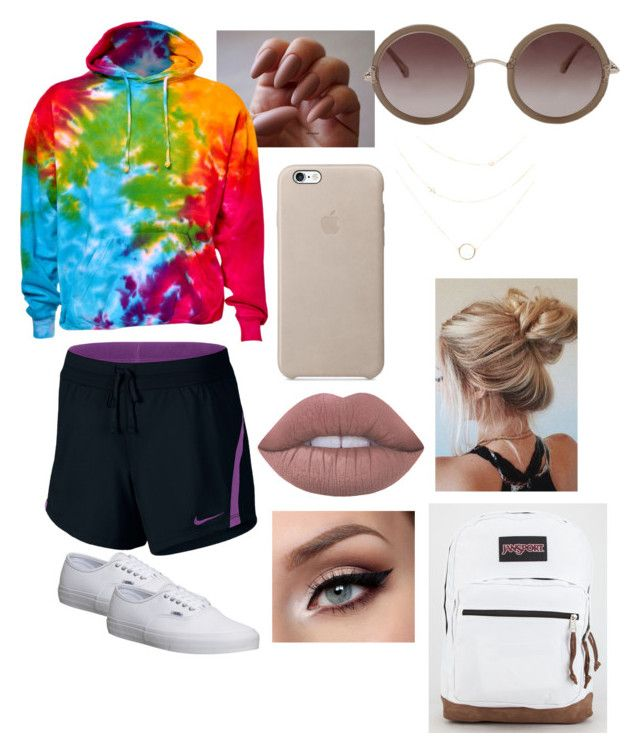 """""""School"""" by siermiller on Polyvore featuring Vans, NIKE, JanSport, The Row and Lime Crime"""