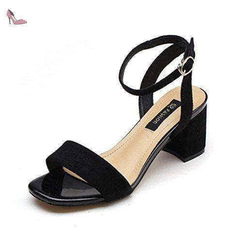 Sandale élégant femme velours chaussure talon carré bout ouvert bride  cheville boucle respirant noir 38 -