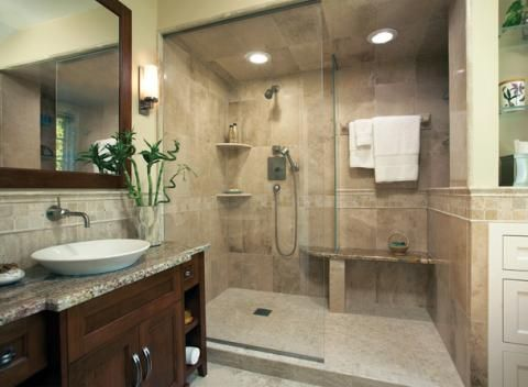 Contemporary Bathroom With Small Light Tan Tile Shower Flooring Designmine