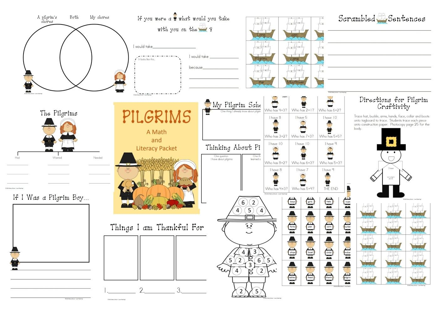 Thanksgiving A Pilgrim Math And Literacy Packet