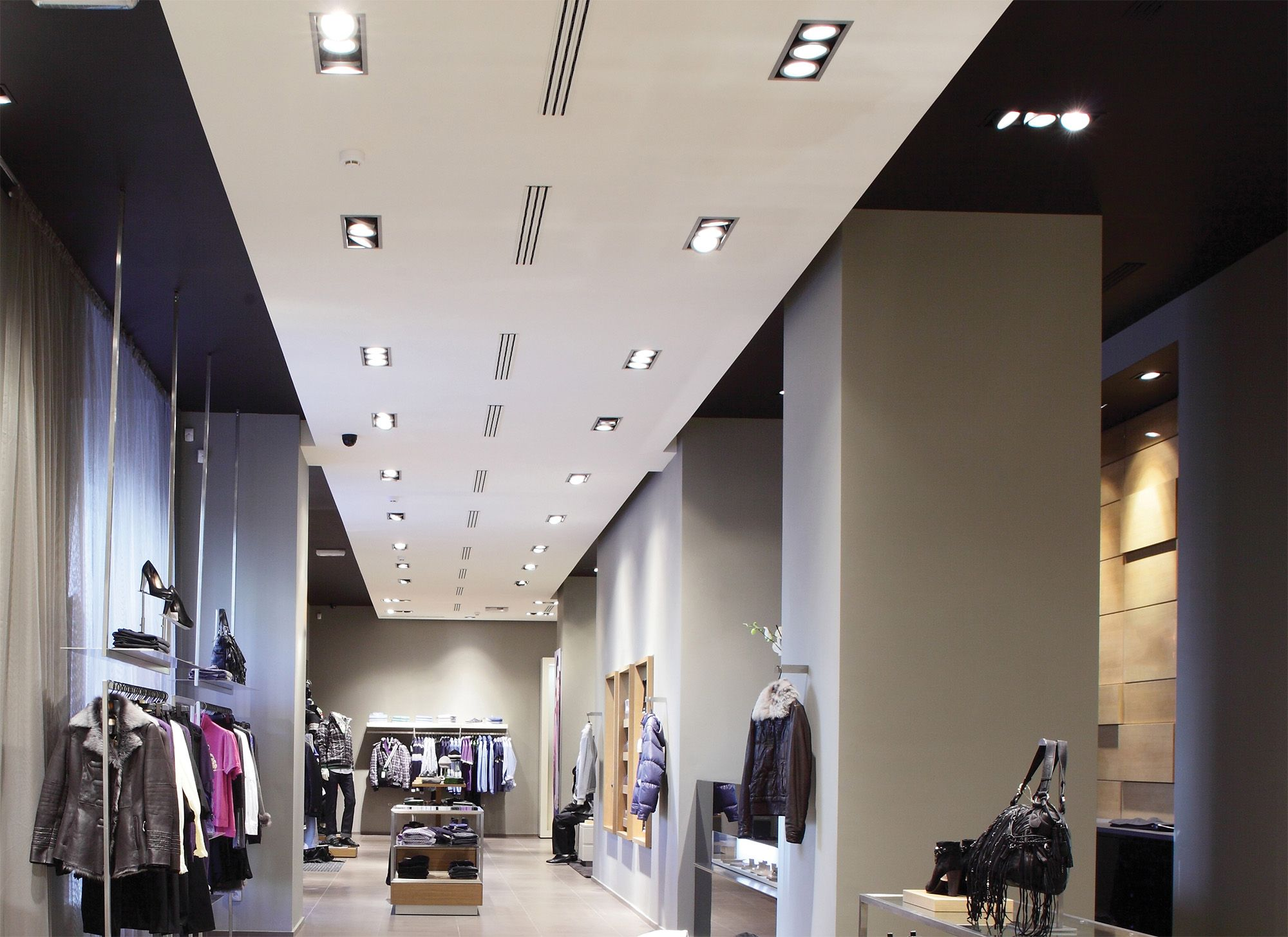 use multiple recessed lighting for retail spaces. #interior