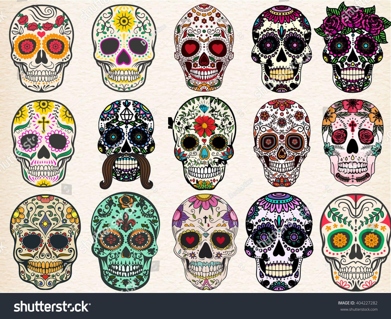 Dia de muertos - black and white skulls | Sugar skull tattoos ...