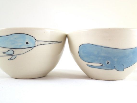 Narwhal and Whale Bowl Set abbyberkson on Etsy