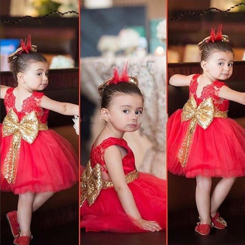 Find More Flower Girl Dresses Information about Gold Bow flower girl ...