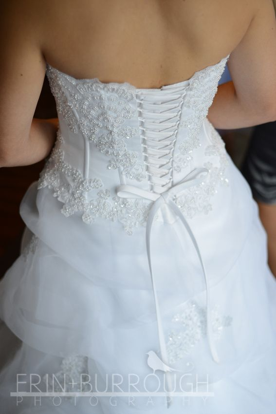 Back of my beautiful lace-up david\'s bridal dress that I got used ...