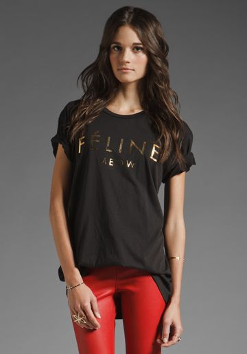 6f629bd2013 Brian Lichtenberg Feline Tee in Black Gold. Funny take on the Celine logo.
