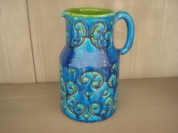 Blue And Green Pv Italy Pottery Pitcher Vase No 65191 Pottery
