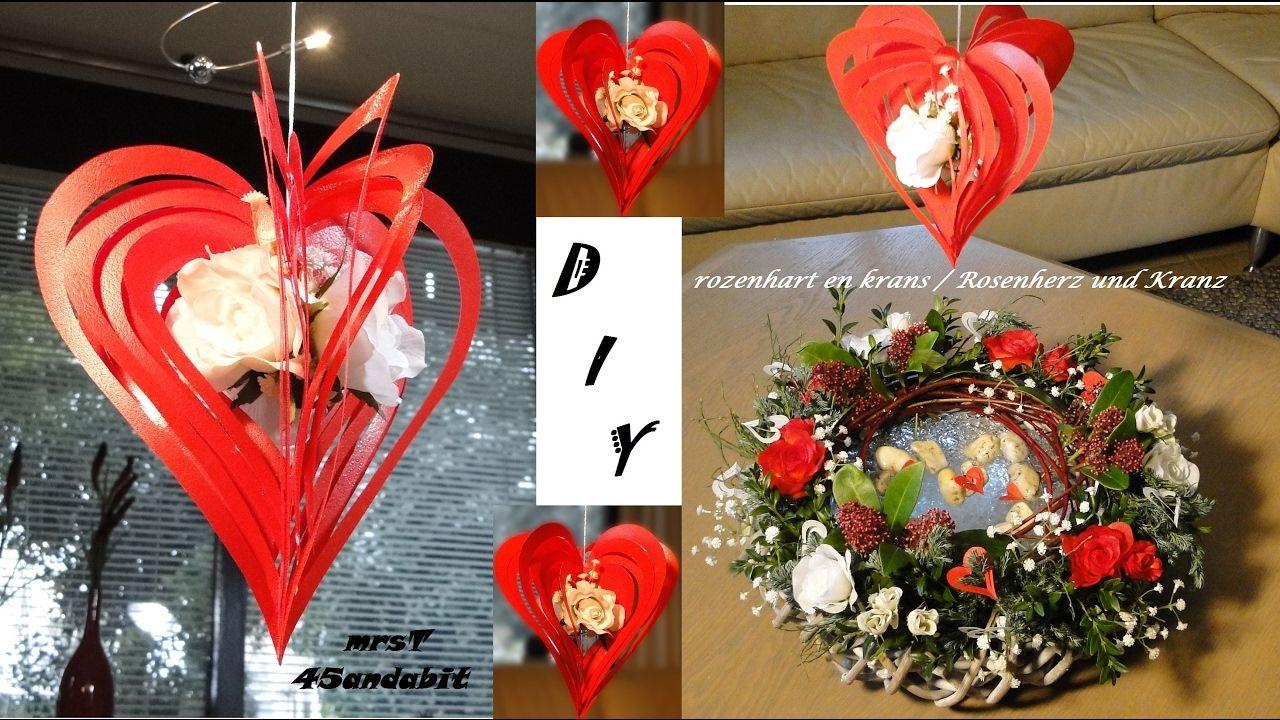 DIY Valentinstag Geschenk Rosenherz und Frühlingskranz, rozenhart en voo...