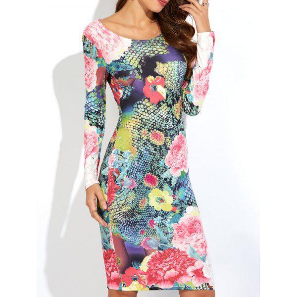 $19.67 3D Floral Print Slimming Dress