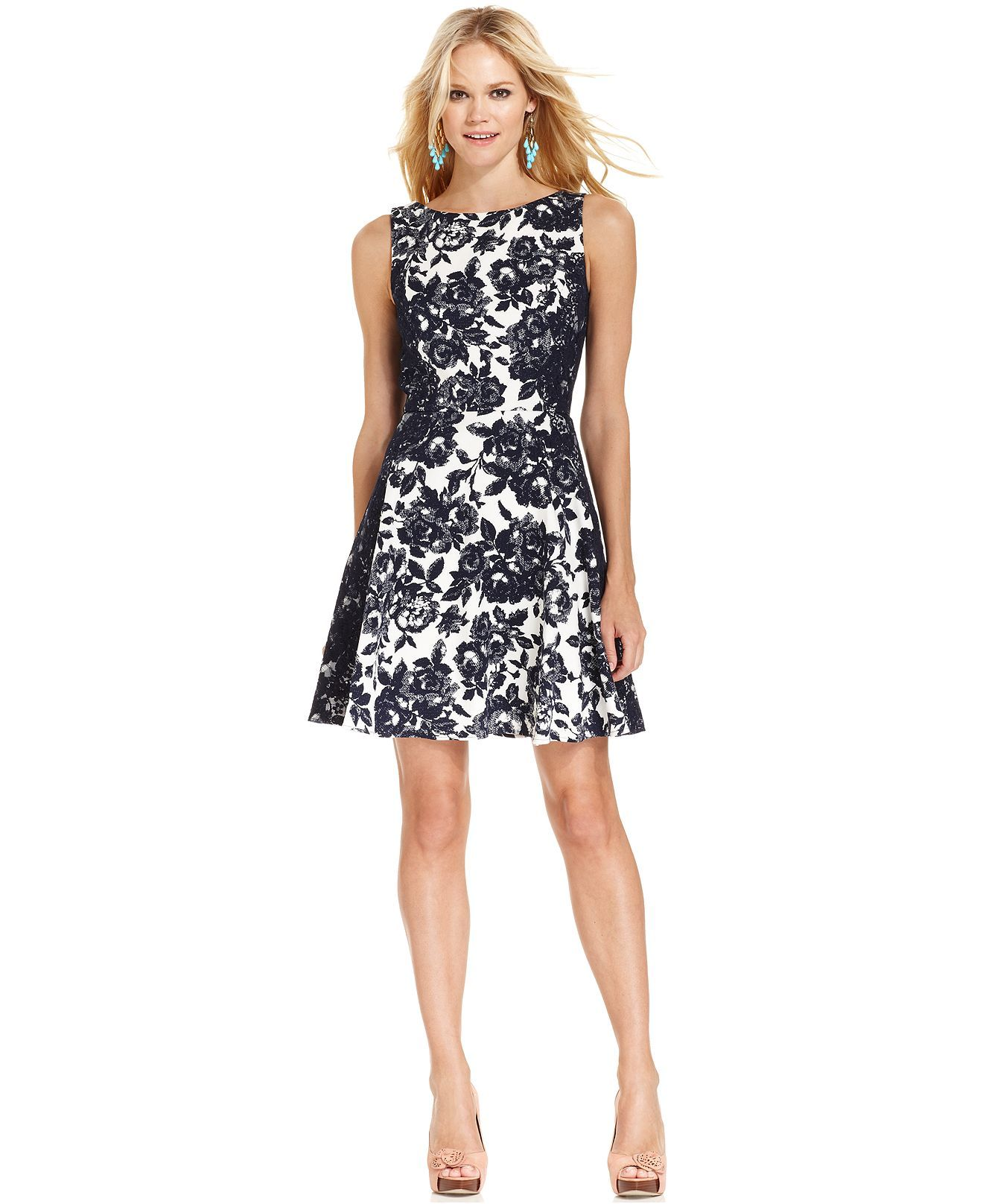 Jessica Simpson Sleeveless Floral-Print Dress - Juniors Jessica ...