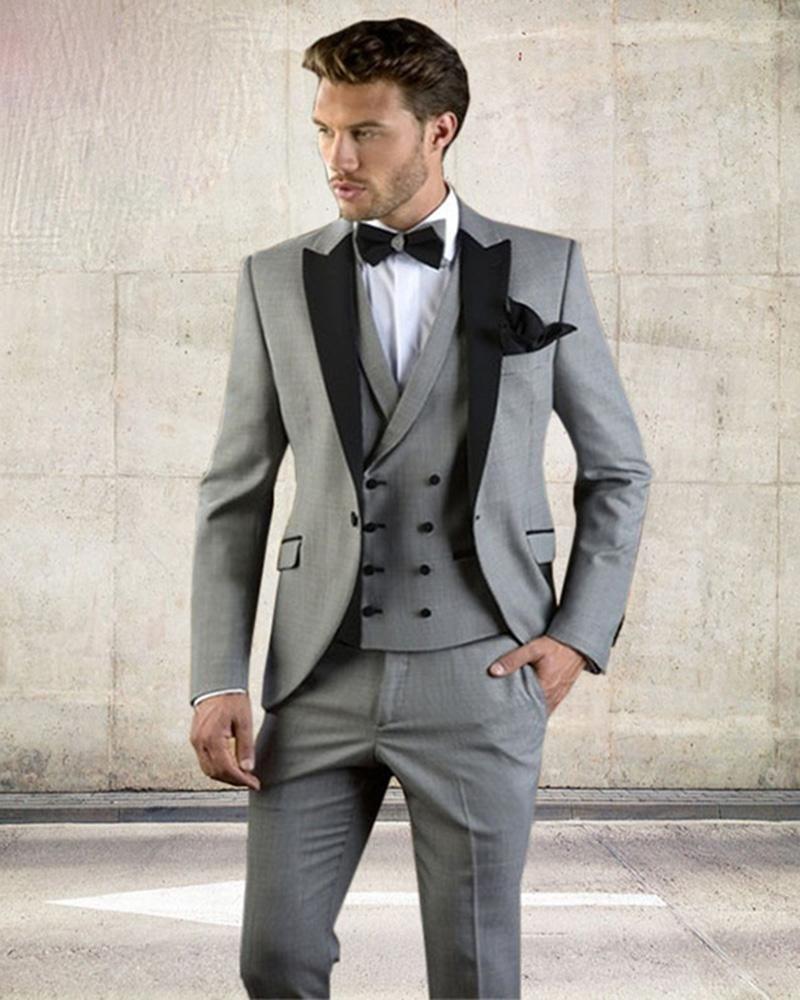 d9fff117ba8 Grey Men Suit Slim Fit Jacket With Black Tuxedo Custom Made Blazer Wedding  Groom Suits (Blazer Pants Vest)