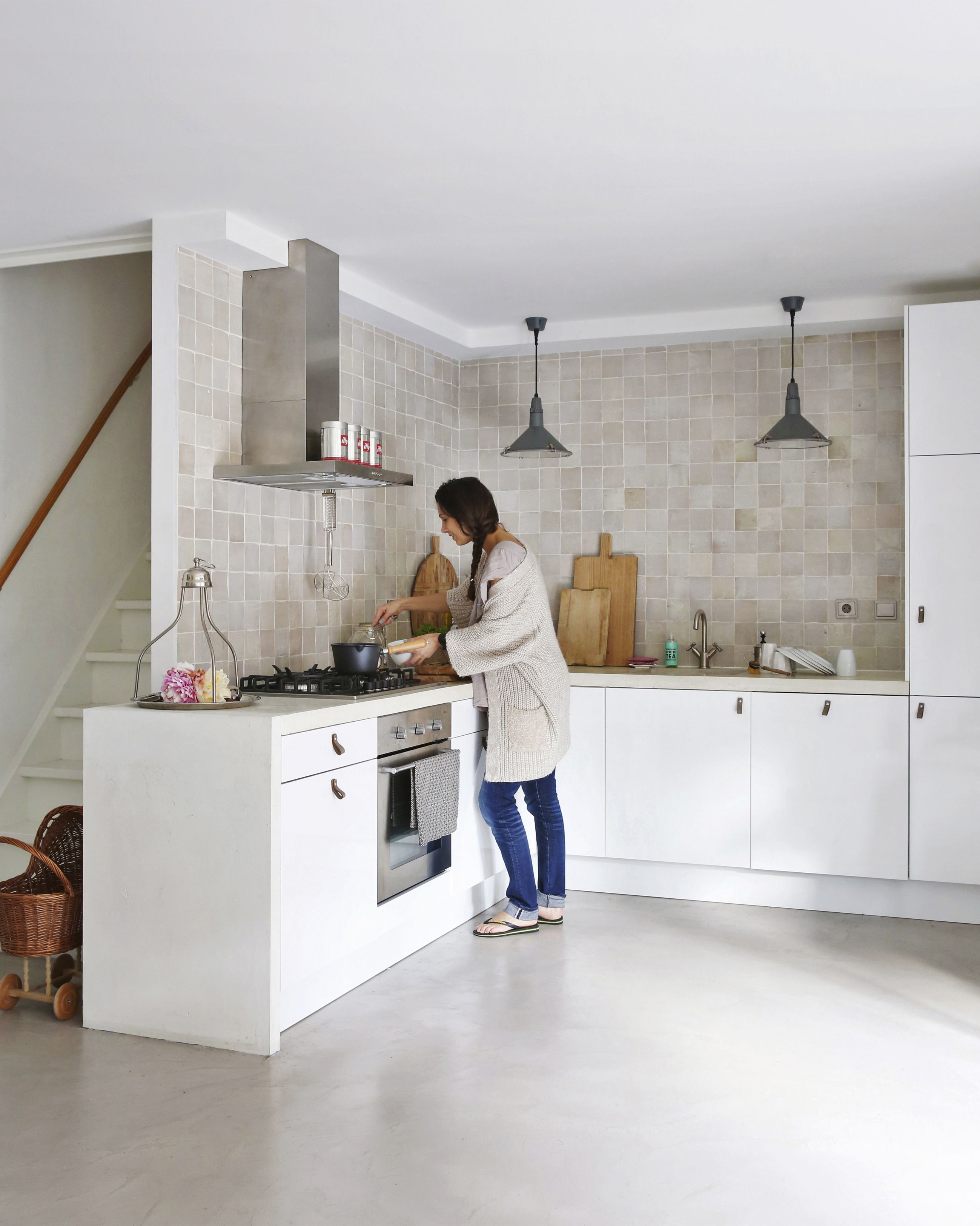 Ikea base | leather handles | customized concrete top | Zelliges ...