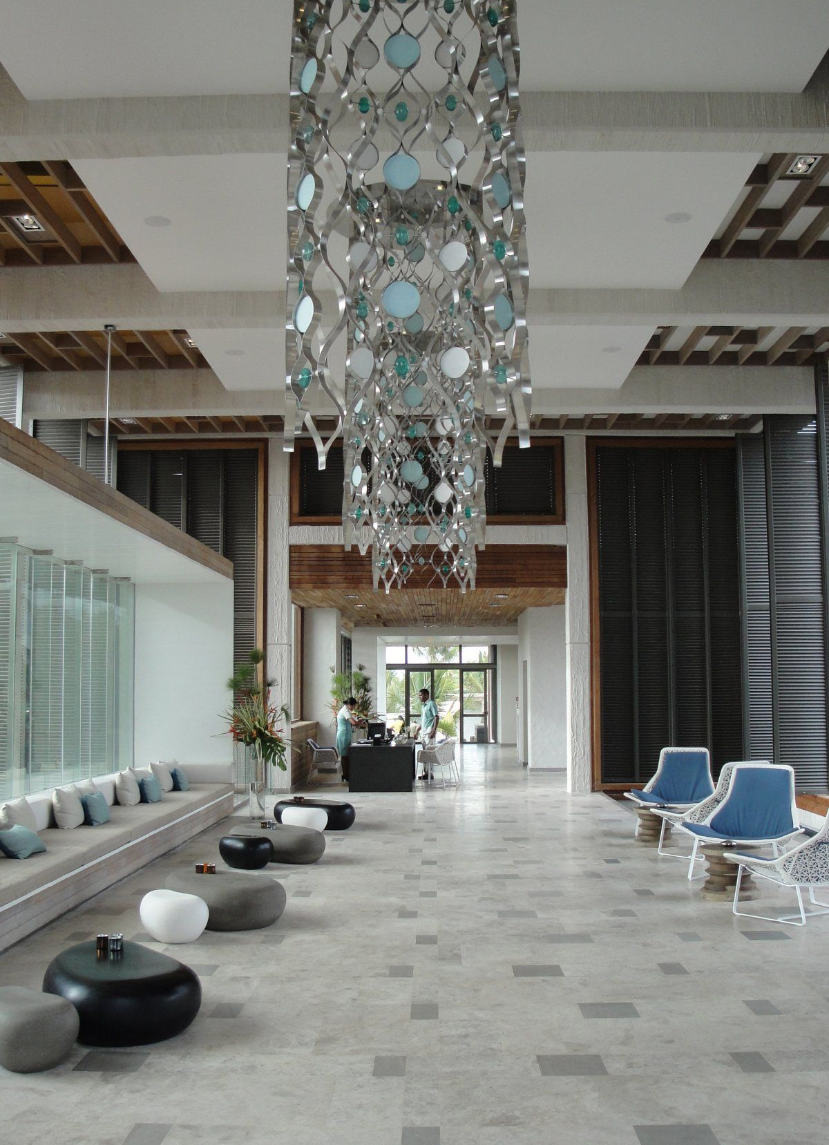 amazing hotels resorts lobby hall entrance with gray long seating