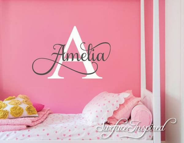Nursery Wall Decal Personalized Names Wall Decals For Kids Amelia - Monogram wall decal for kids