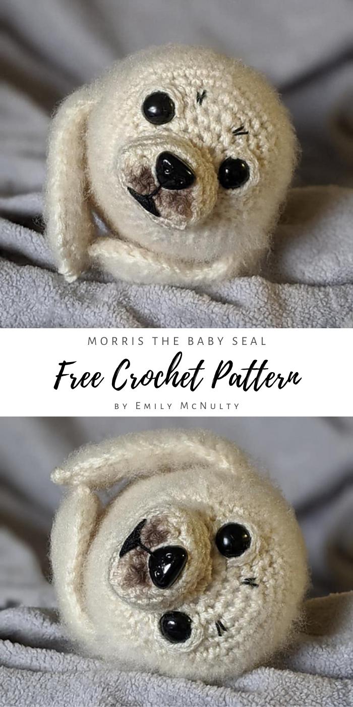 Morris the baby seal free crochet amigurumi pattern by Emily McNulty – Szydełkowe zwierzątka i nie tylko.