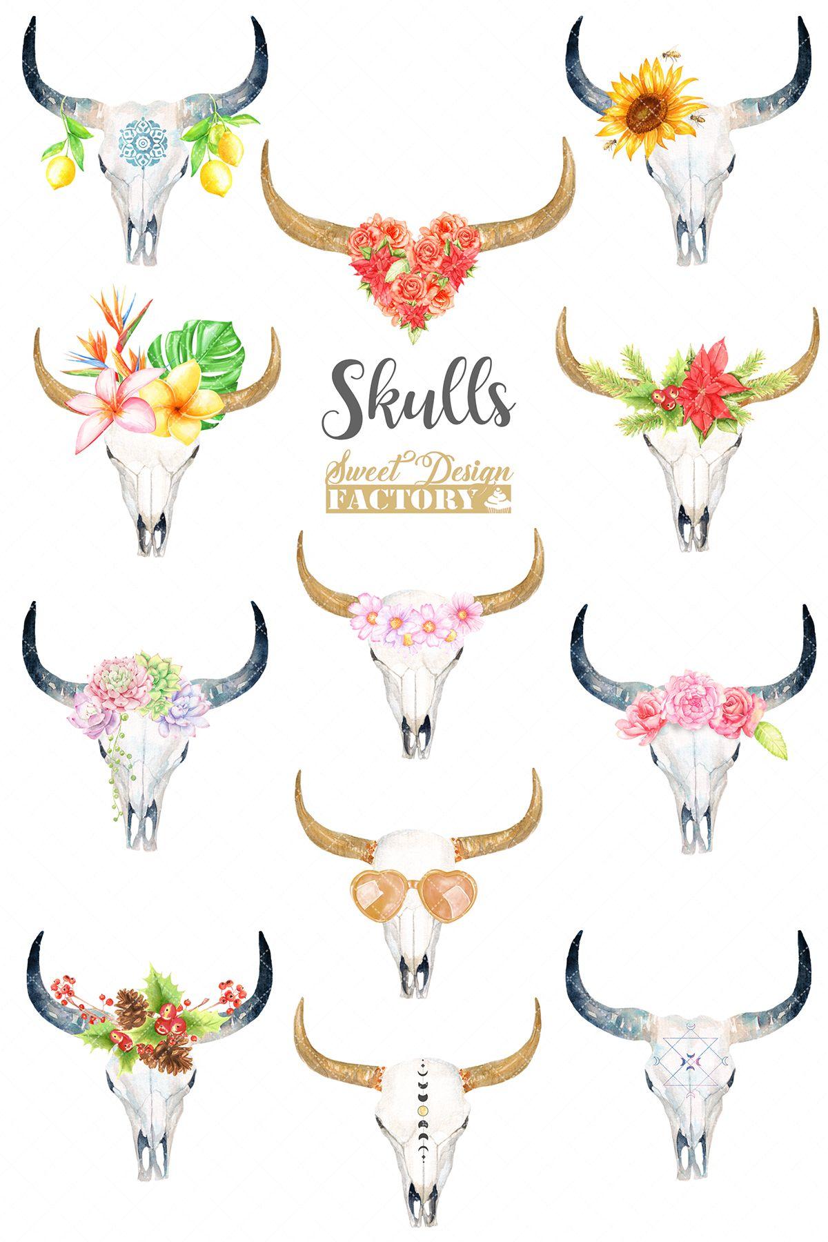 Bull Skull Clipart : skull, clipart, Watercolor, Skull, Clipart, (312660), Illustrations, Design, Bundles, Tattoos,