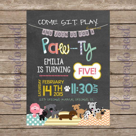 adorable chalkboard doodle dog paw-ty birthday invitation | dog, Birthday invitations