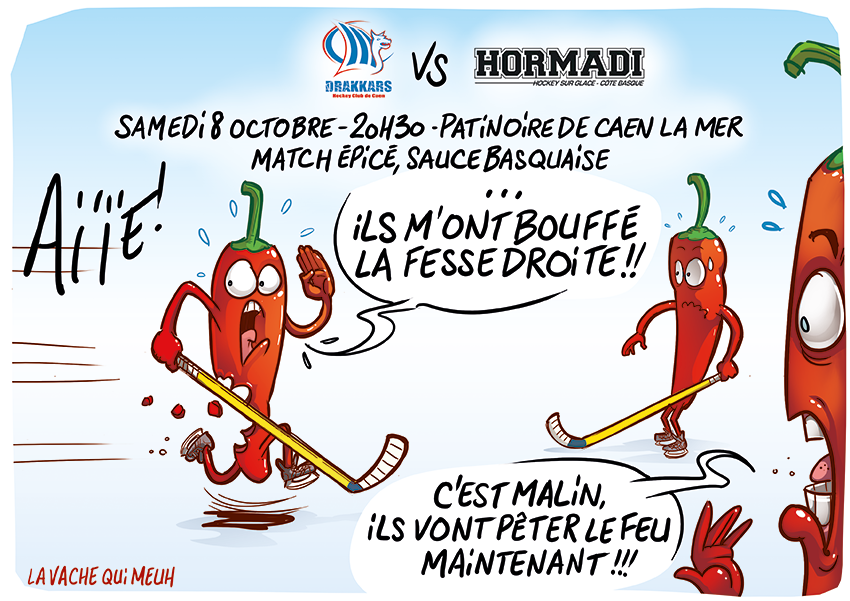 Caen vs anglet match pic sauce basquaise hockey humour dessin basque pice drakkars - Dessin de hockey ...