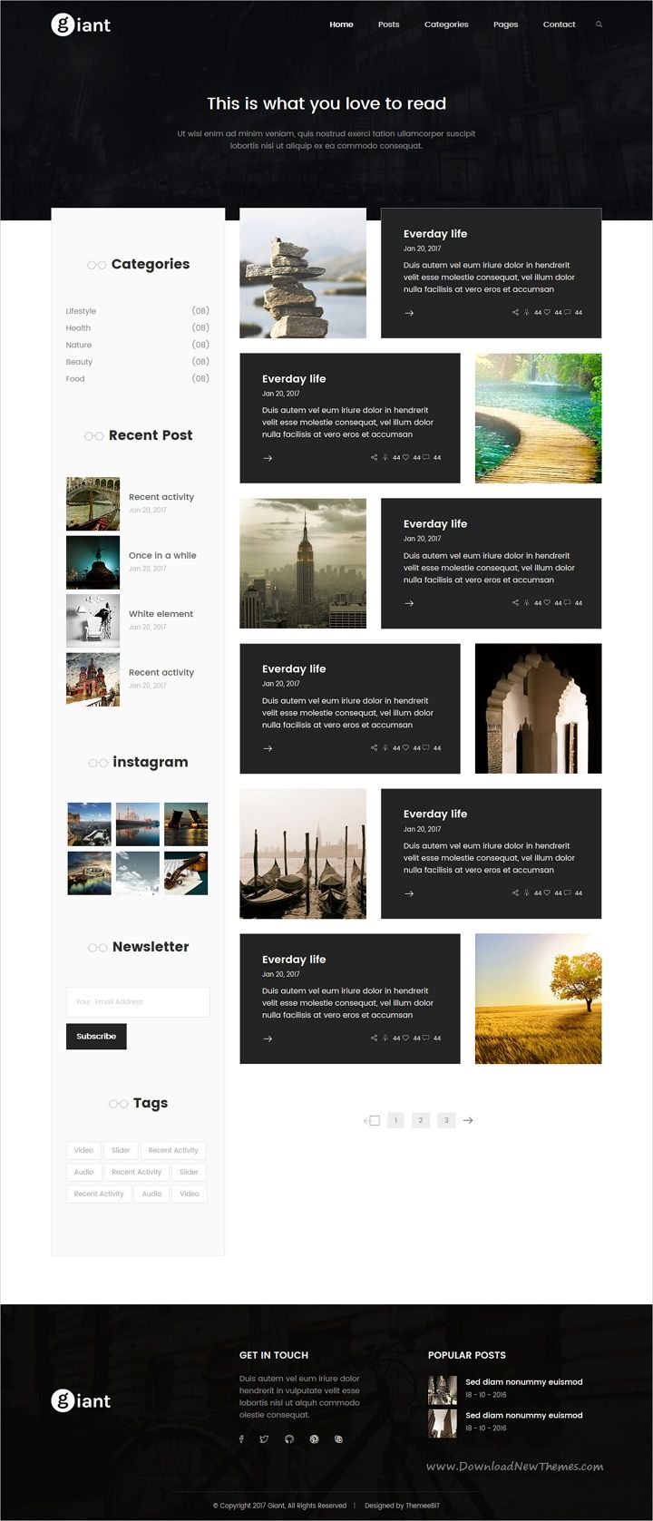Giant Blog - HTML5 Blog Template   Magazine website, Template and ...