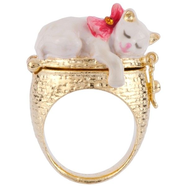 Les Nereides Little Cats White Cat And Kittens Secret Ring 150 Liked On Polyvore Featuring Jewelry Rings Jewe Cat Rings Jewelry Cat Jewelry Les Nereides