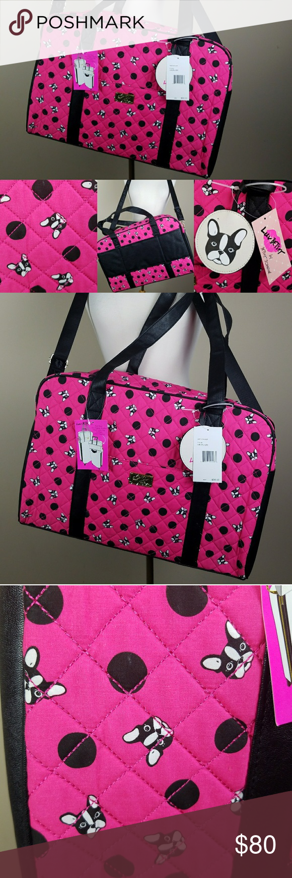 9fba68e810 Betsey Johnson French bulldog weekender bag Large duffle with French  bulldogs or Boston terriers. New