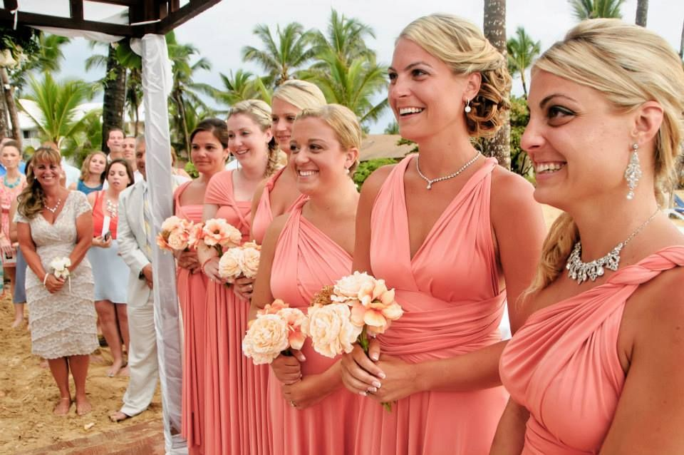 Beach bridesmaid dresses henkaa coral long convertible for Coral bridesmaid dresses for beach wedding