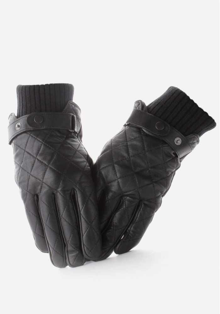 mens cloves | Barbour Quilted Men's Leather Gloves Black | My D ... : barbour quilted gloves - Adamdwight.com