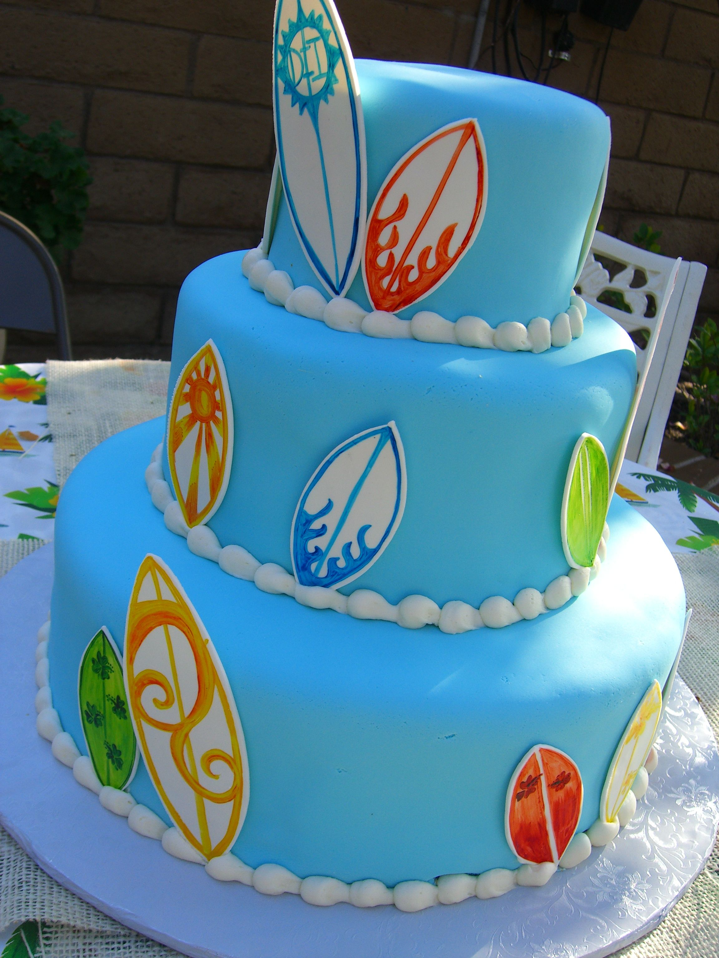 Surf Inspired Baby Shower Cake Dilwicius Desserts