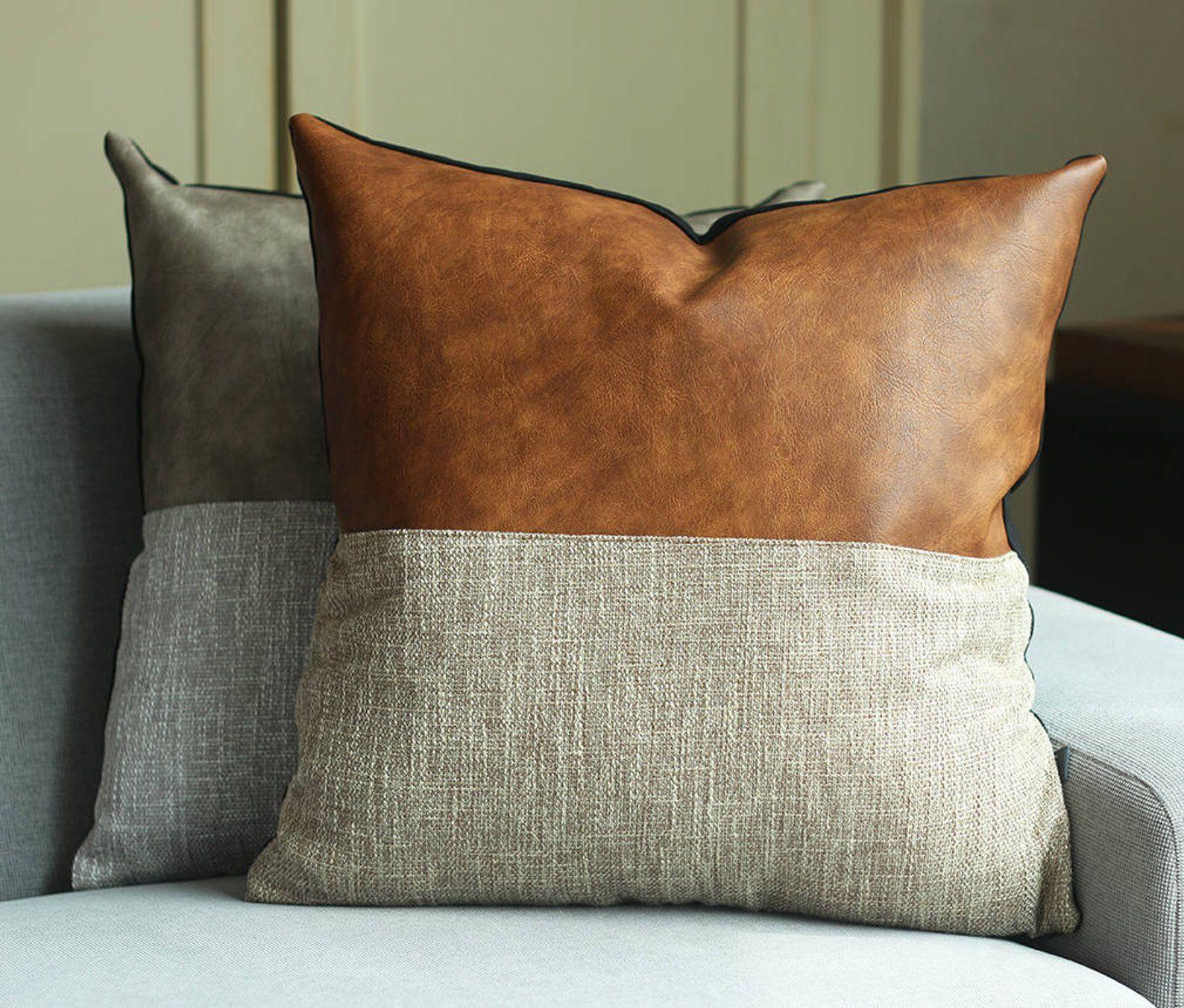 Designer Faux Leather Pillow Cover Kdays Halftan Pillow Cover Decorative For Couch Throw Pillow Case Handmade Cushion Covers Brown Cushion Coussins Faits A La Main Housse De Coussin Et Coussins En
