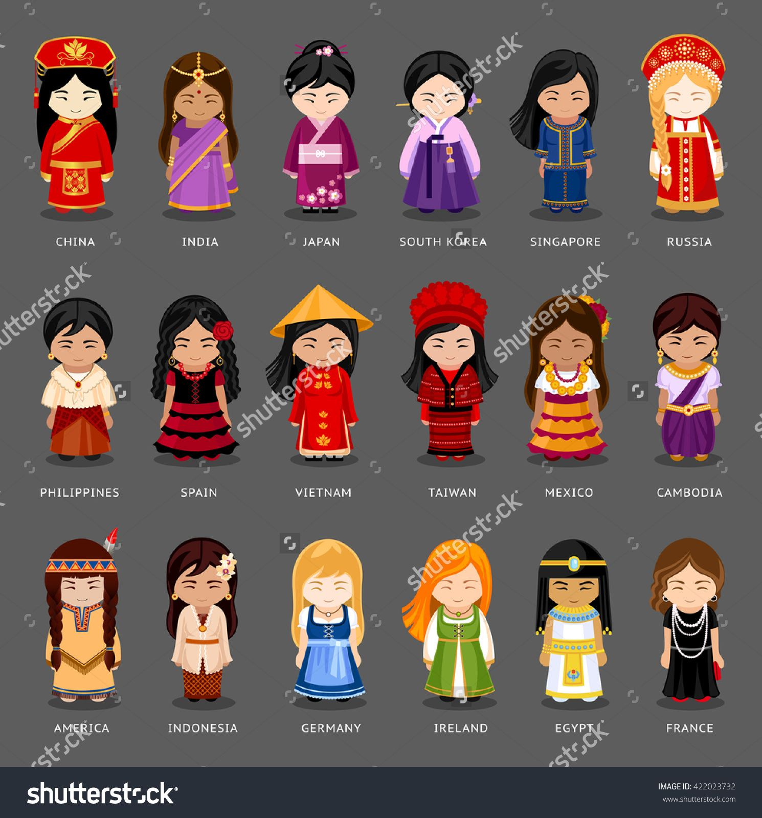 a7d89ba91 Cartoon Girls In Different National Costumes. Vector Illustration Of ...