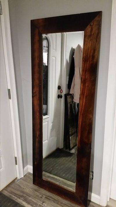 Reclaimed Oak floor standing mirror   Repurposed reclaimed ...