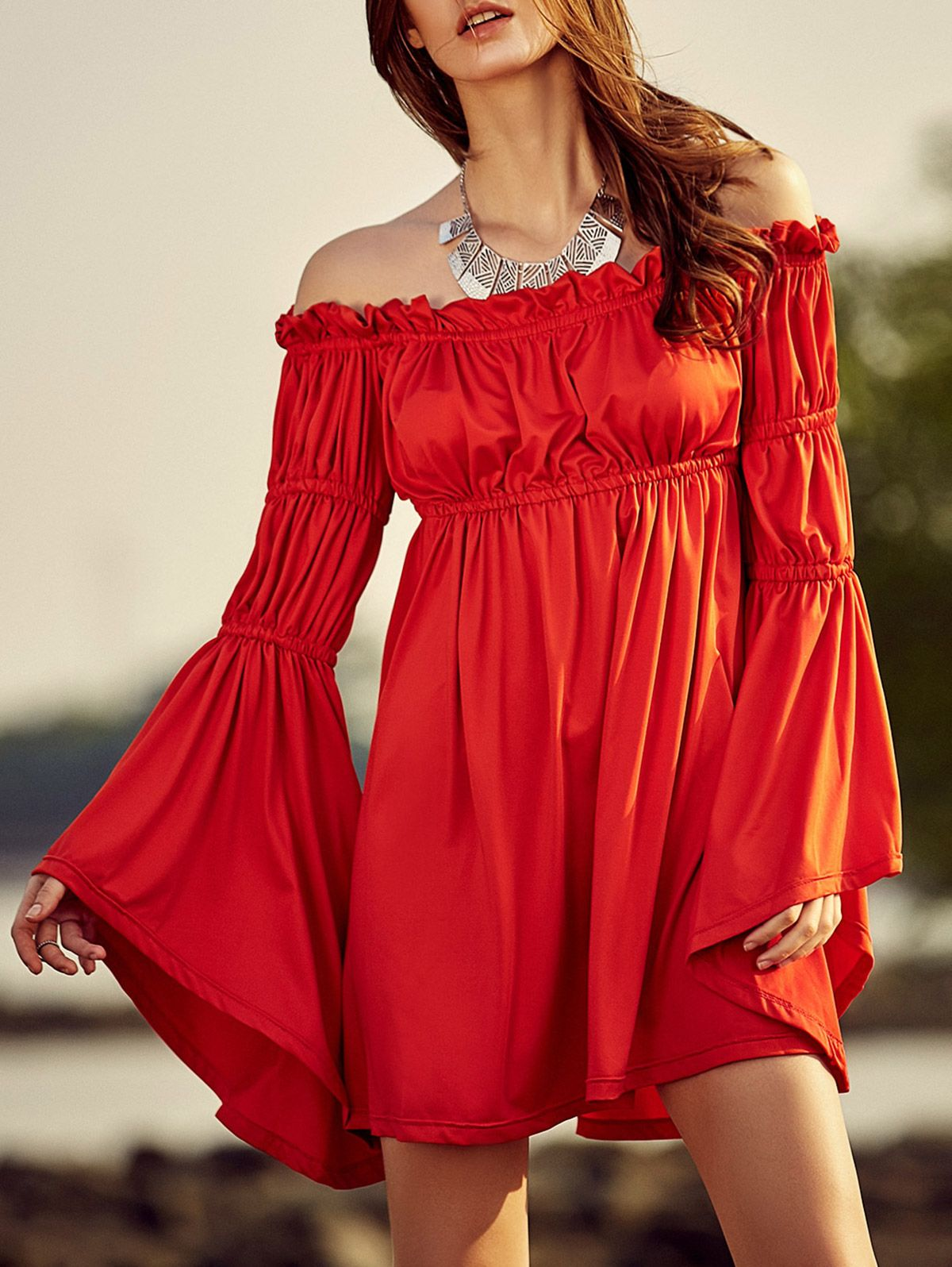 Cold shoulder bell sleeve red dress cold shoulder shoulder and