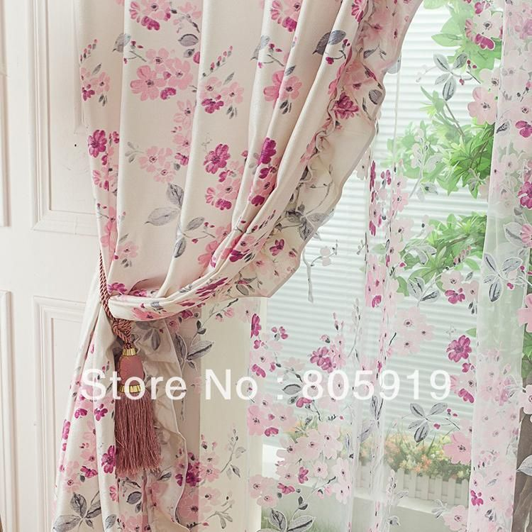 Aliexpress.com : Buy Free Shipping Floral Pink Curtains For Living . Part 36