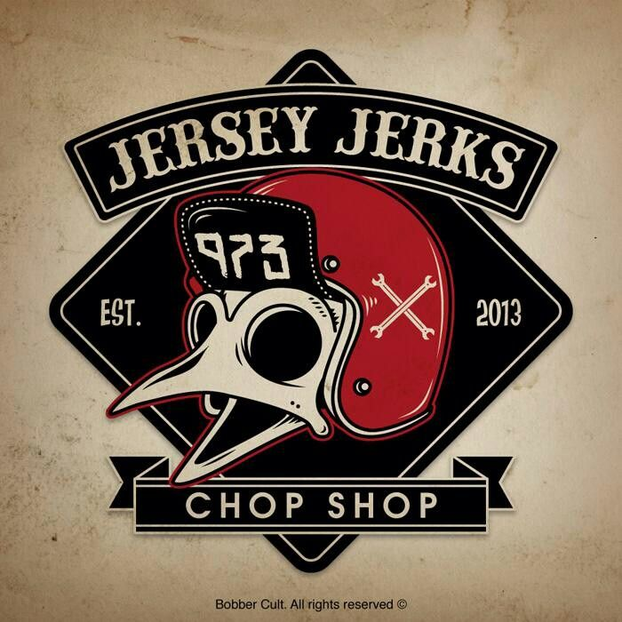 Jersey Jerks Chop Shop Chalk Art Logo Signcraft Motorcycle