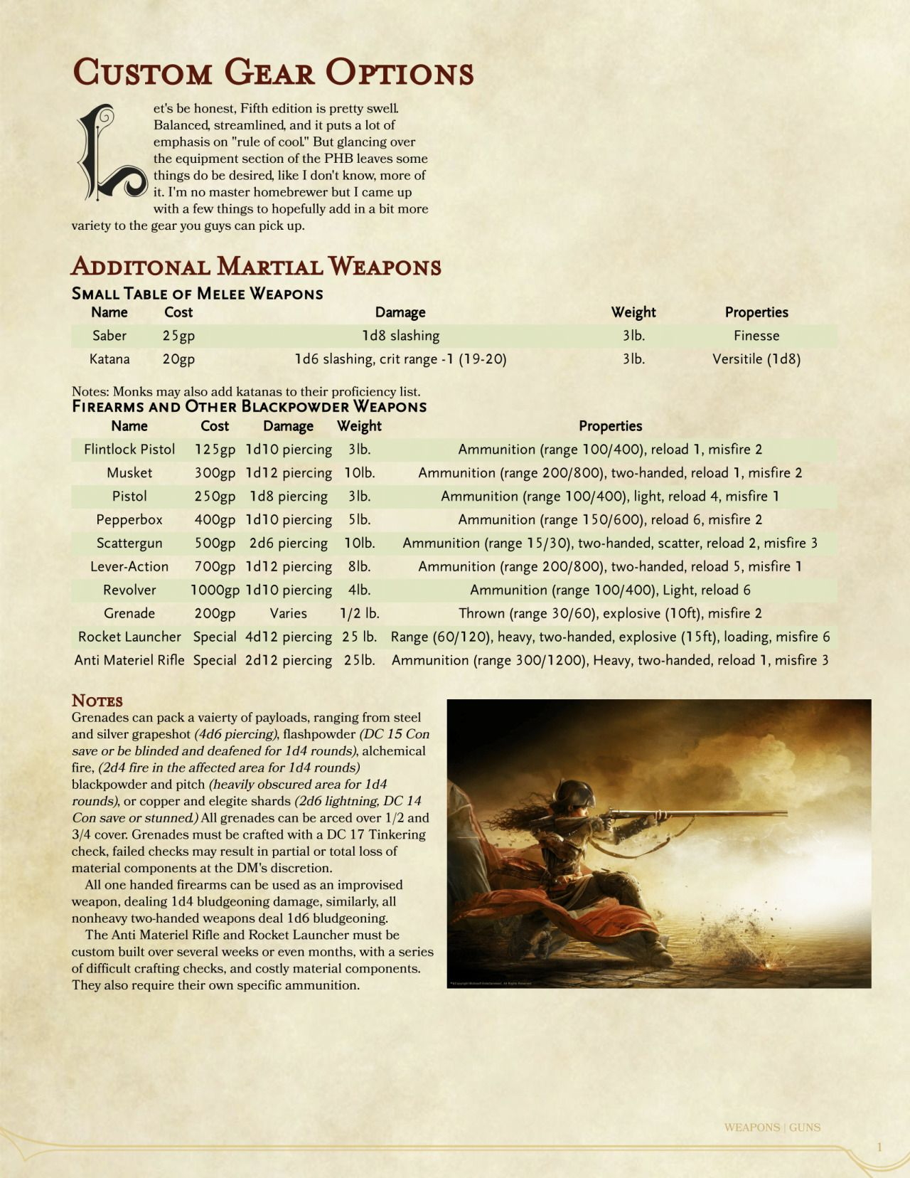 Dnd 5e Homebrew Custom Gear Options By Some Hippies I Would Increase The Price Of Katana
