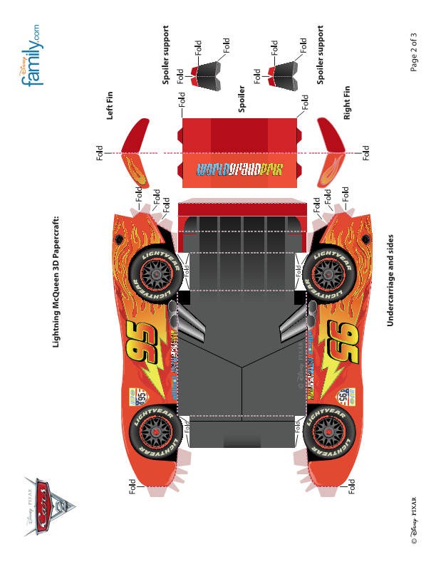 Pixar Cars 2 Lightning Mcqueen 3d Papercraft Pagenumber002png