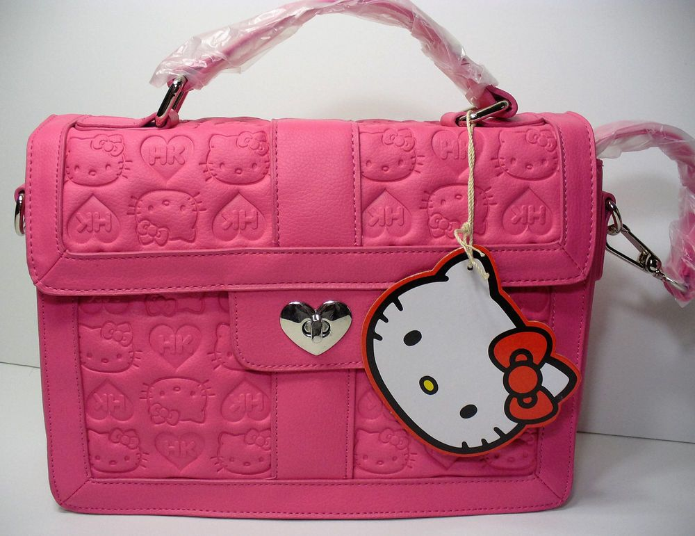 aa81bf06c7 Loungefly Hello Kitty Pink Embossed Satchel Heart Lock Bag Purse Sanrio New   Loungefly  Satchel
