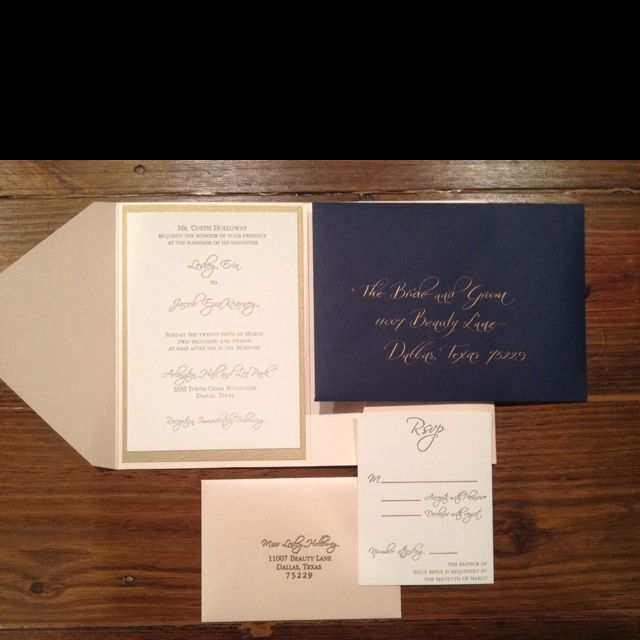 Pink, Gold And Navy Wedding Invitations