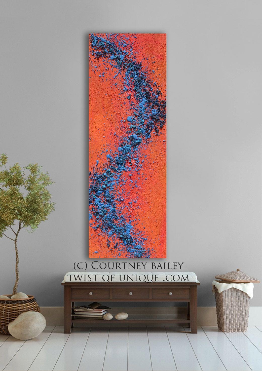 vivid abstract artwork, Large Original Abstract painting, Large abstract wall art, abstract home wall decor, blue, Orange, Red-Orange, Blue.
