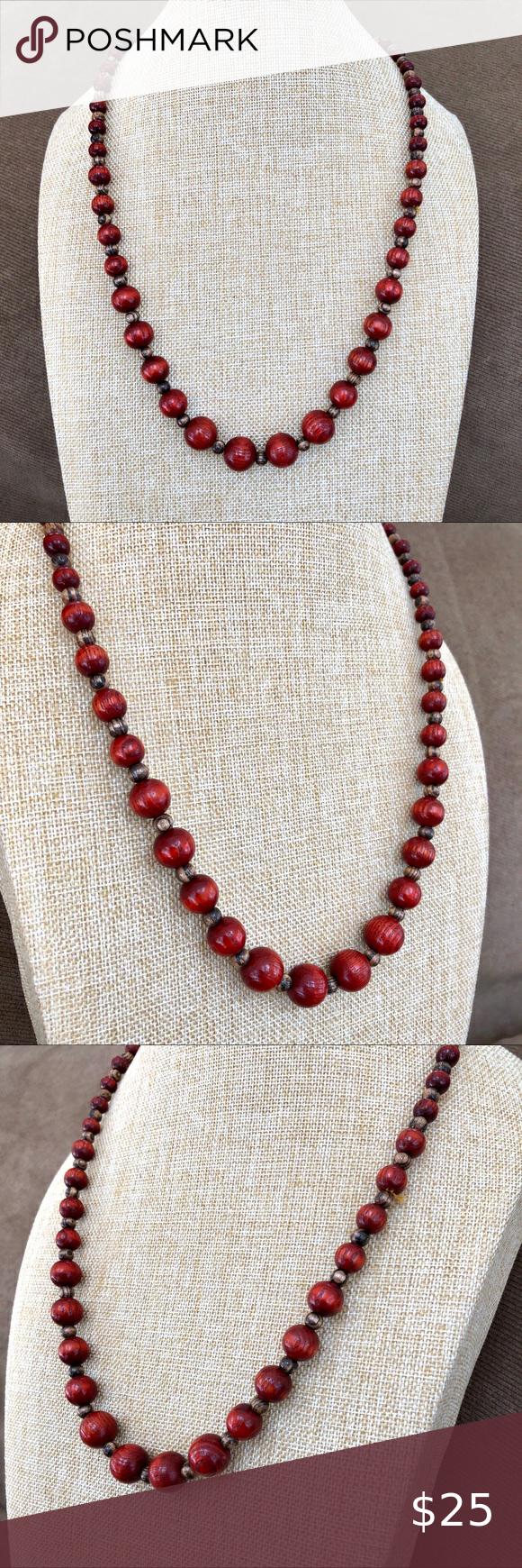 Handmade Beaded Necklace Wood /& Garnet Red Coloured Beads