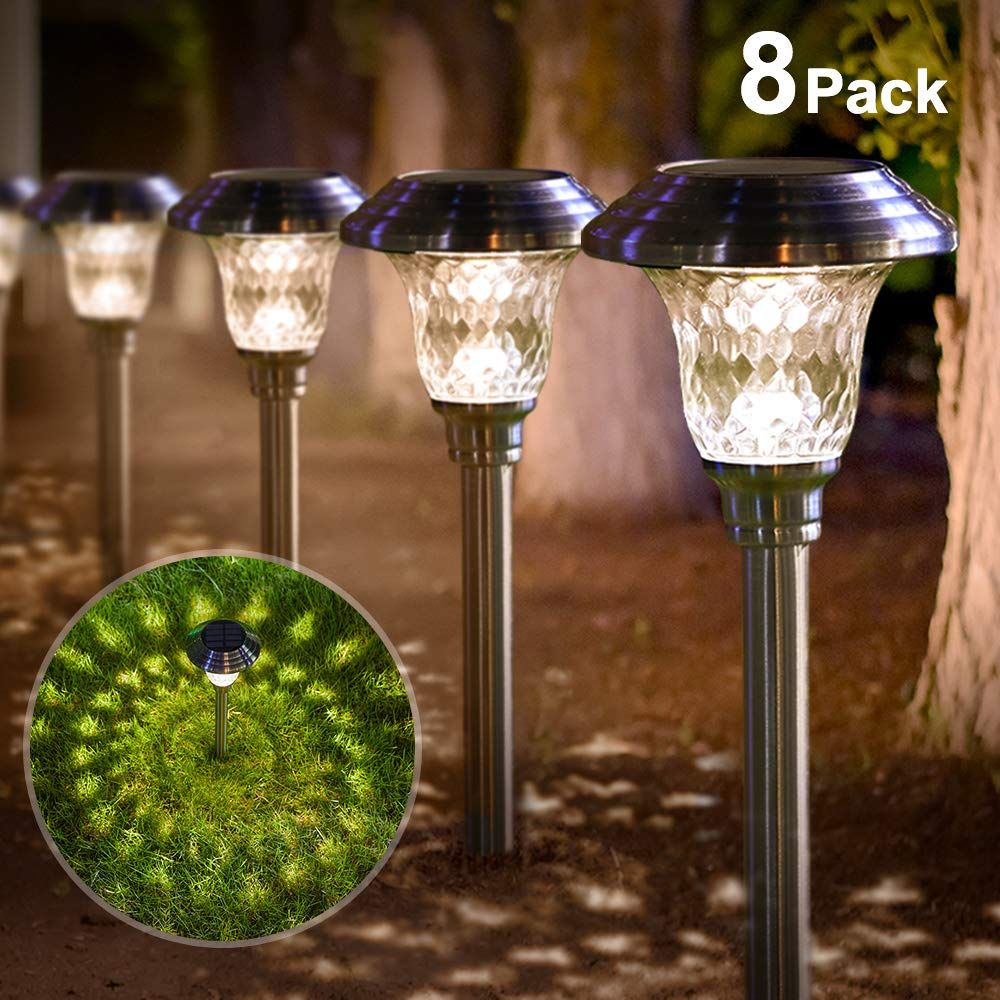 Solar Lights Bright Pathway Outdoor Garden Stake Glass Stainless