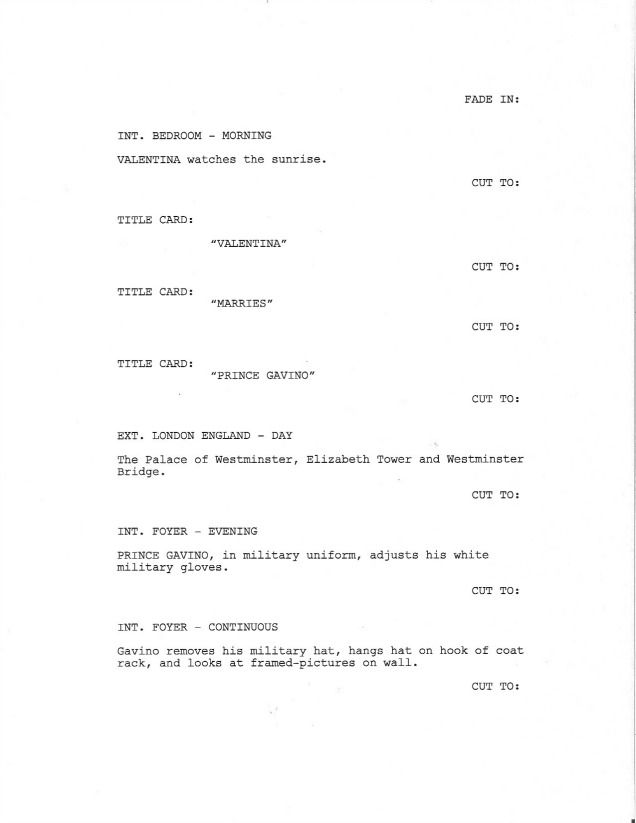 page 1 of royal love story from the grave sample screenplay