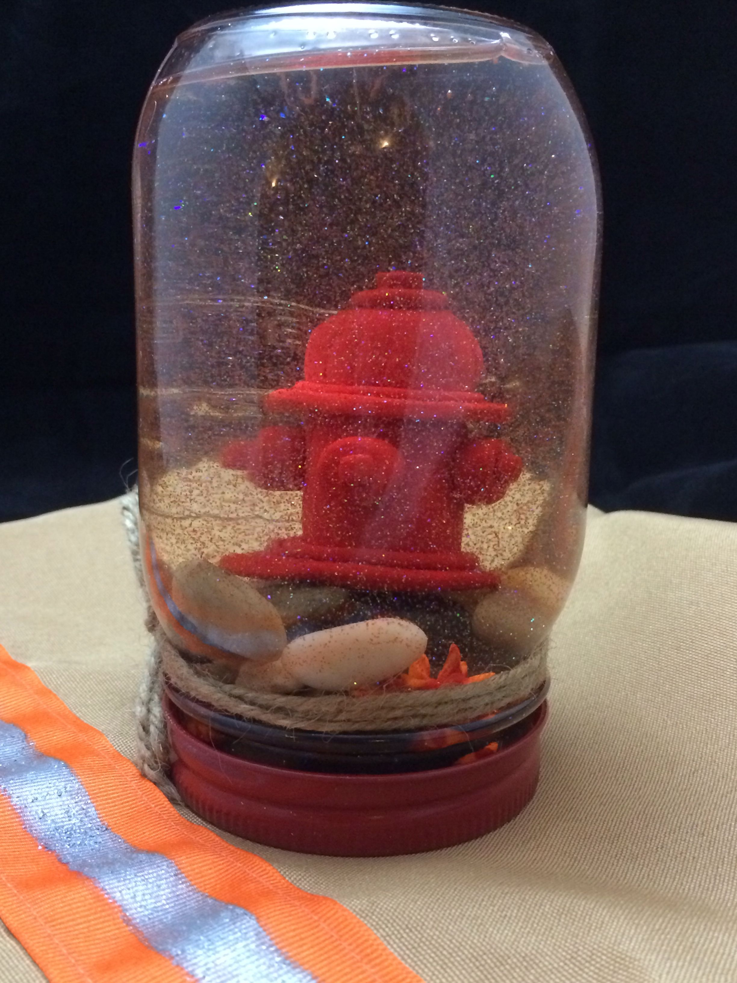 Fire dept snow globe mason jar red spray painted lid sculpey