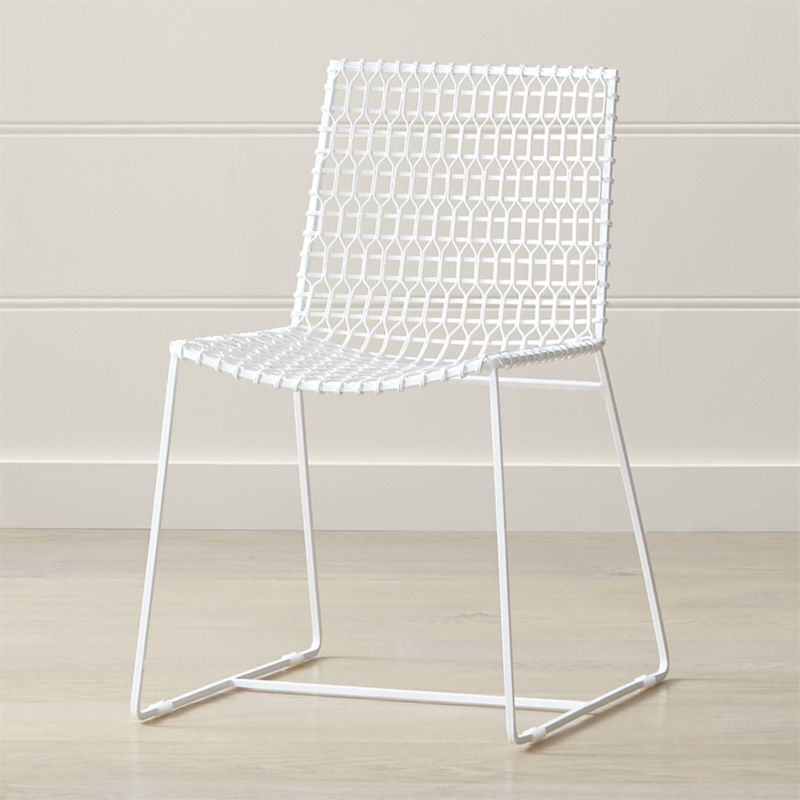 Tig Indoor Outdoor White Metal Dining Chair Reviews Crate And