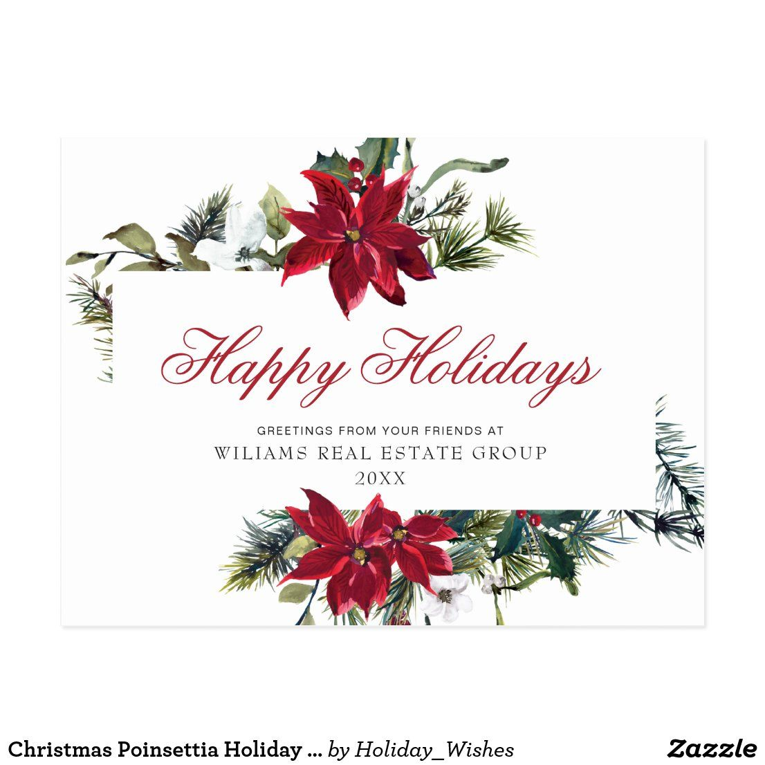 Christmas Poinsettia Holiday Corporate Greeting Postcard #zazzle #zazzlemade #christmas #newyear #customparty #partysupplies #custominvitation #invitations #holidaycards #customdecor #holidays #printondemand #customstationery #invitationtemplate #partyinvitation #partydecor #partydecorations #customgifts