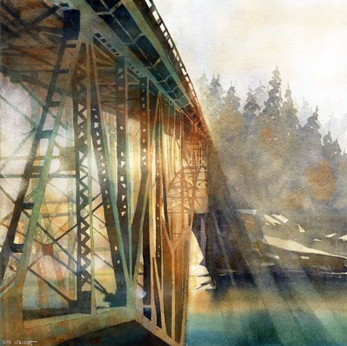 Deception Pass No 2 By Iain Stewart Watercolor 16 X 16