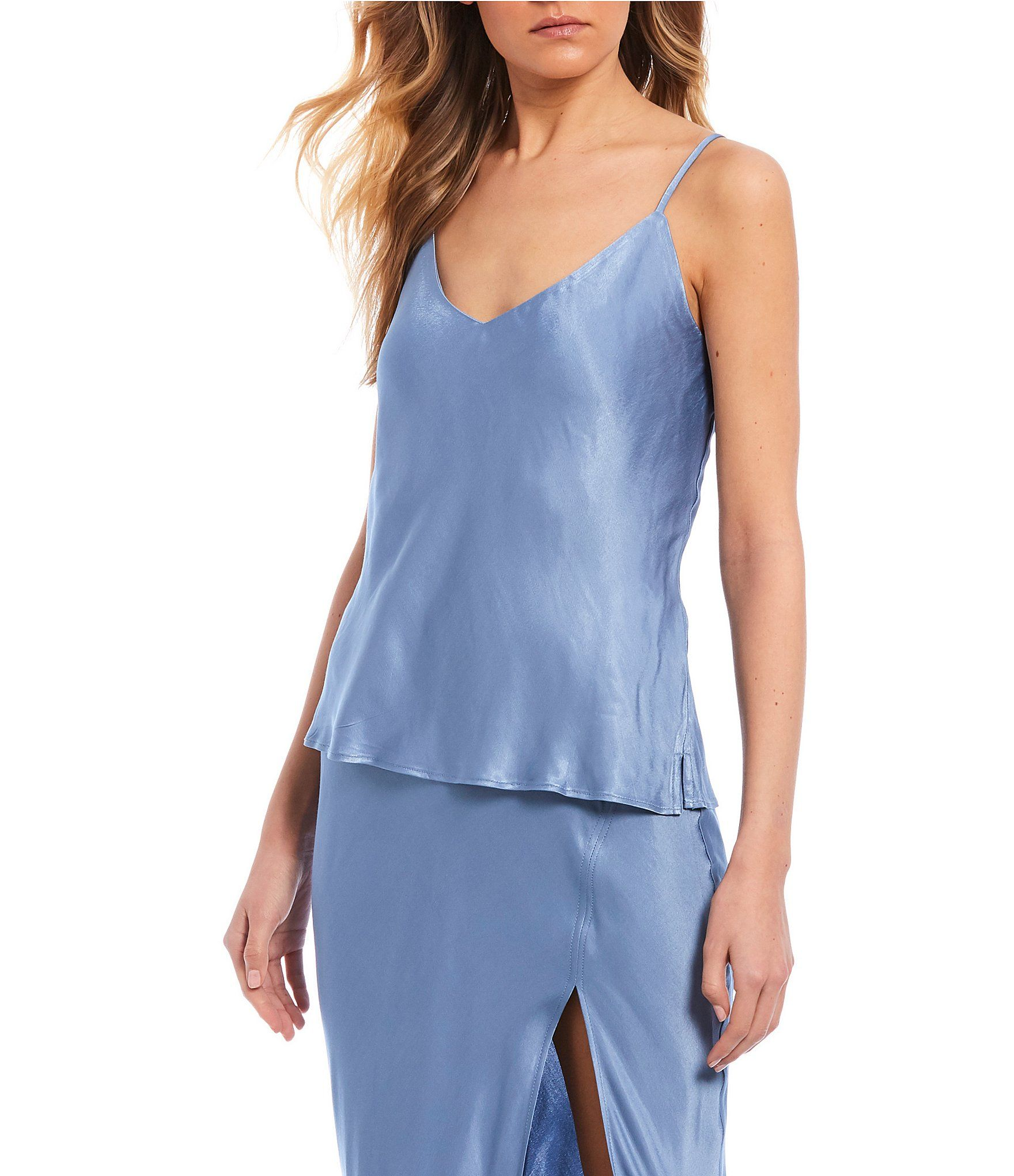 From GB, this camisole features:Satin fabricationV-necklineadjustable spaghetti strapsStraight hem Linedviscose/Rayon/PolyesterMachine wash; line dryImported.